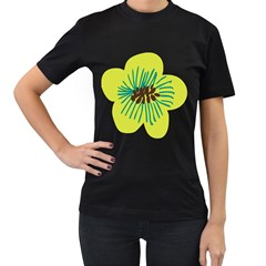 Flower Floral Green Women s T Shirt (black) (two Sided)