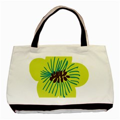 Flower Floral Green Basic Tote Bag by AnjaniArt