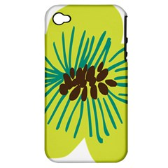 Flower Floral Green Apple Iphone 4/4s Hardshell Case (pc+silicone) by AnjaniArt