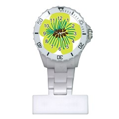 Flower Floral Green Plastic Nurses Watch by AnjaniArt