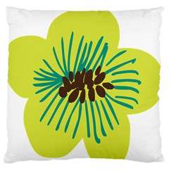 Flower Floral Green Standard Flano Cushion Case (two Sides)