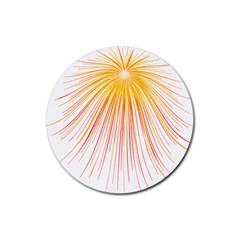 Fireworks Yellow Light Rubber Round Coaster (4 Pack)  by AnjaniArt