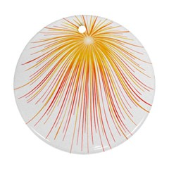 Fireworks Yellow Light Round Ornament (two Sides) by AnjaniArt