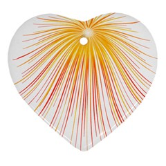 Fireworks Yellow Light Heart Ornament (two Sides)