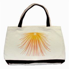 Fireworks Yellow Light Basic Tote Bag (two Sides) by AnjaniArt