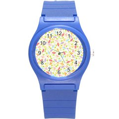 Flower Rainbow Sexy Leaf Plaid Vertical Horizon Round Plastic Sport Watch (s) by AnjaniArt