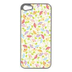 Flower Rainbow Sexy Leaf Plaid Vertical Horizon Apple Iphone 5 Case (silver) by AnjaniArt