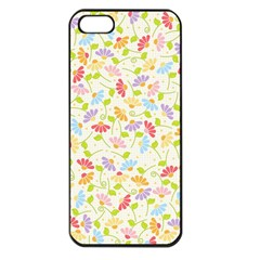 Flower Rainbow Sexy Leaf Plaid Vertical Horizon Apple Iphone 5 Seamless Case (black)
