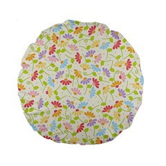 Flower Rainbow Sexy Leaf Plaid Vertical Horizon Standard 15  Premium Round Cushions by AnjaniArt