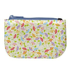 Flower Rainbow Sexy Leaf Plaid Vertical Horizon Large Coin Purse by AnjaniArt