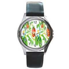 Fruit Flower Leaf Red White Green Starflower Round Metal Watch by AnjaniArt