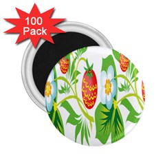 Fruit Flower Leaf Red White Green Starflower 2 25  Magnets (100 Pack)  by AnjaniArt