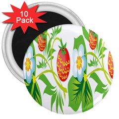 Fruit Flower Leaf Red White Green Starflower 3  Magnets (10 Pack)