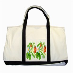 Fruit Flower Leaf Red White Green Starflower Two Tone Tote Bag by AnjaniArt