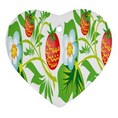 Fruit Flower Leaf Red White Green Starflower Heart Ornament (two Sides) by AnjaniArt
