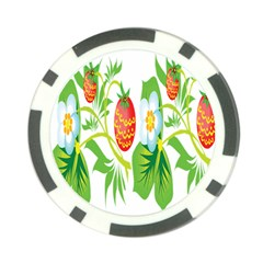 Fruit Flower Leaf Red White Green Starflower Poker Chip Card Guard by AnjaniArt