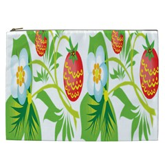 Fruit Flower Leaf Red White Green Starflower Cosmetic Bag (xxl)  by AnjaniArt