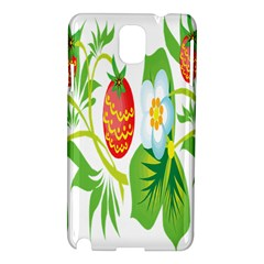 Fruit Flower Leaf Red White Green Starflower Samsung Galaxy Note 3 N9005 Hardshell Case by AnjaniArt