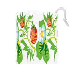 Fruit Flower Leaf Red White Green Starflower Drawstring Pouches (large)  by AnjaniArt