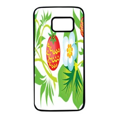 Fruit Flower Leaf Red White Green Starflower Samsung Galaxy S7 Black Seamless Case by AnjaniArt