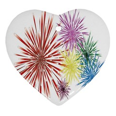 Happy New Year City Semmes Fireworks Rainbow Red Blue Yellow Purple Sky Ornament (heart) by AnjaniArt