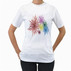 Happy New Year City Semmes Fireworks Rainbow Red Blue Yellow Purple Sky Women s T Shirt (white) (two Sided)