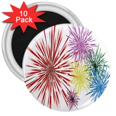 Happy New Year City Semmes Fireworks Rainbow Red Blue Yellow Purple Sky 3  Magnets (10 Pack)