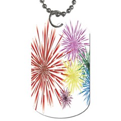 Happy New Year City Semmes Fireworks Rainbow Red Blue Yellow Purple Sky Dog Tag (one Side) by AnjaniArt