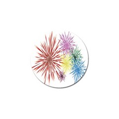 Happy New Year City Semmes Fireworks Rainbow Red Blue Yellow Purple Sky Golf Ball Marker (4 Pack)