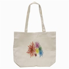 Happy New Year City Semmes Fireworks Rainbow Red Blue Yellow Purple Sky Tote Bag (cream)