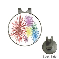 Happy New Year City Semmes Fireworks Rainbow Red Blue Yellow Purple Sky Hat Clips With Golf Markers
