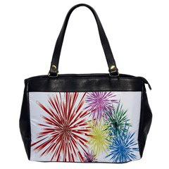 Happy New Year City Semmes Fireworks Rainbow Red Blue Yellow Purple Sky Office Handbags by AnjaniArt