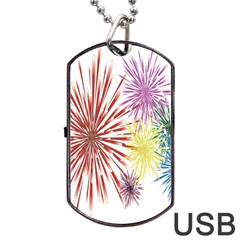 Happy New Year City Semmes Fireworks Rainbow Red Blue Yellow Purple Sky Dog Tag Usb Flash (two Sides) by AnjaniArt
