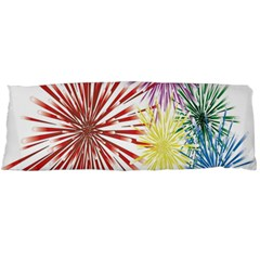 Happy New Year City Semmes Fireworks Rainbow Red Blue Yellow Purple Sky Body Pillow Case Dakimakura (two Sides) by AnjaniArt