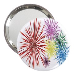 Happy New Year City Semmes Fireworks Rainbow Red Blue Yellow Purple Sky 3  Handbag Mirrors by AnjaniArt