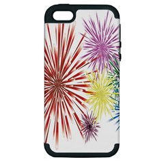 Happy New Year City Semmes Fireworks Rainbow Red Blue Yellow Purple Sky Apple Iphone 5 Hardshell Case (pc+silicone) by AnjaniArt