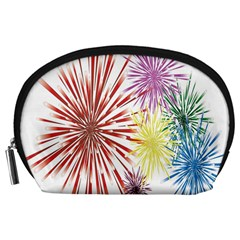 Happy New Year City Semmes Fireworks Rainbow Red Blue Yellow Purple Sky Accessory Pouches (large)  by AnjaniArt