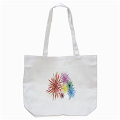 Happy New Year City Semmes Fireworks Rainbow Red Blue Yellow Purple Sky Tote Bag (white)
