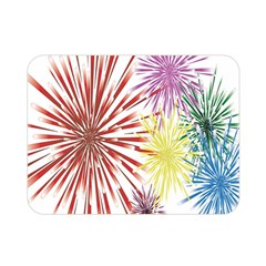 Happy New Year City Semmes Fireworks Rainbow Red Blue Yellow Purple Sky Double Sided Flano Blanket (mini)  by AnjaniArt