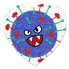 Monster Virus Blue Cart Big Eye Red Green Jigsaw Puzzle (heart) by AnjaniArt