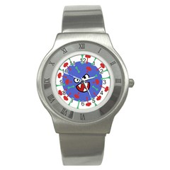 Monster Virus Blue Cart Big Eye Red Green Stainless Steel Watch by AnjaniArt
