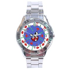 Monster Virus Blue Cart Big Eye Red Green Stainless Steel Analogue Watch