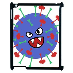 Monster Virus Blue Cart Big Eye Red Green Apple Ipad 2 Case (black) by AnjaniArt
