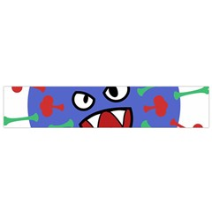 Monster Virus Blue Cart Big Eye Red Green Flano Scarf (small)