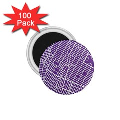 New York Map Art City Street Purple Line 1 75  Magnets (100 Pack)  by AnjaniArt