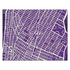 New York Map Art City Street Purple Line Rectangular Jigsaw Puzzl