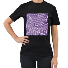 New York Map Art City Street Purple Line Women s T Shirt (black) (two Sided)