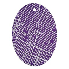 New York Map Art City Street Purple Line Oval Ornament (two Sides)