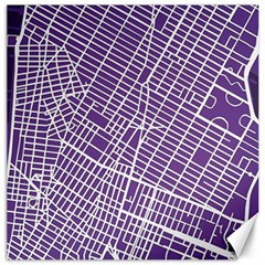 New York Map Art City Street Purple Line Canvas 16  X 16   by AnjaniArt