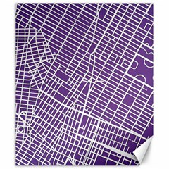 New York Map Art City Street Purple Line Canvas 20  X 24   by AnjaniArt